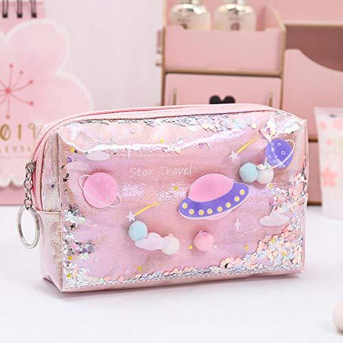 Laser Cosmetic Bag Quicksand Purse Storage Bag Durable Waterproof Portable Clutch-Star Trek Pink-Large