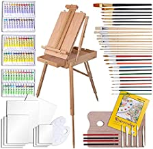 WA Portman Complete Paint Set with Professional Paint Easel for Adults - 121 pc Paint Set for Adults with Oil Paint Acrylic Paint & Watercolor Paint - Complete Painting Kit with Canvas Pads & Brushes