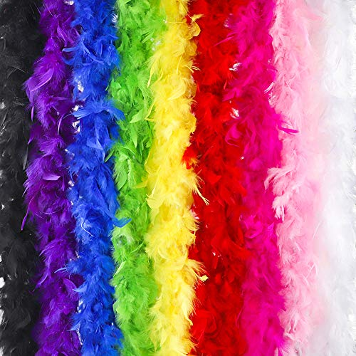 Outuxed 9pc 6.6ft Multicolor Crafts Feather Boas for Adults, Party Bulk 40g with 9 Colors Decoration and Costume Dress Up