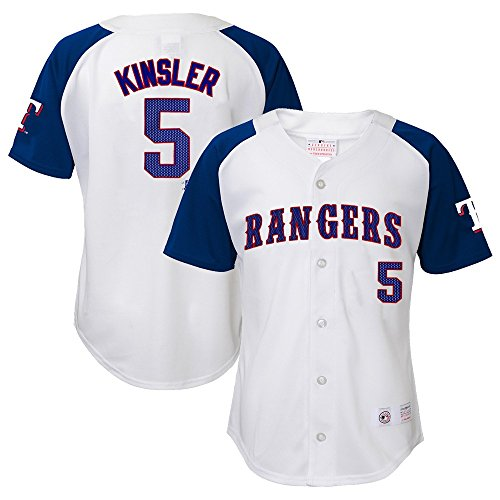 OuterStuff Ian Kinsler MLB Texas Rangers Player White Home Button Down...
