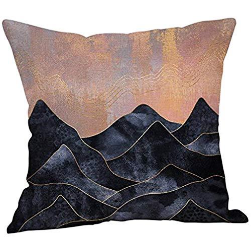 Hose233 - Fundas de almohada con líneas geométricas, paisaje abstracto, moderno, de algodón y lino, decorativas, para decoración del hogar, fundas de cojín de sofá, fundas de almohada para decoración del hogar, 18 x 18 (alto)