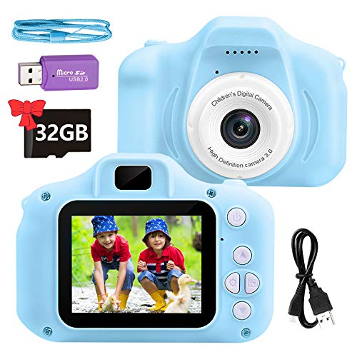ZoZoplay Kids Camera for Girls Boys Best Birthday for Age 3-12 Digital Video Camera for Kids 2.0 Inch Screen Toddler Camera with 32GB SD Card