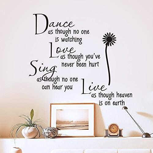 Dansen, alsof niemand toekijkt liefde citaat muurtattoos afneembare PVC-muursticker wooncultuur slaapkamer DIY
