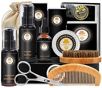 Upgraded Beard Grooming Kit w/Beard Growth Oil,Beard Balm,Beard Shampoo/Wash,Beard Brush,Beard Comb,Beard scissors,Storage Bag,Beard E-Book,Beard Care Grooming Gifts for Men from XIKEZAN