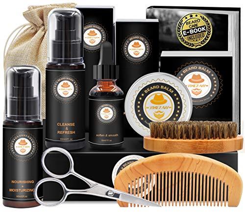 kit cuidado barba con champu barba, peine barba, cepillo barba, aceite