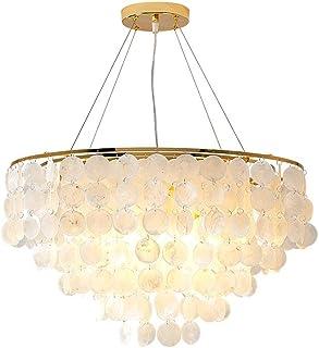 JJZXD Loft Modern White Natural Seashell Chandelier Ceiling Shell Lighting for Dining Room Living Room Kitchen Bedroom Fix...