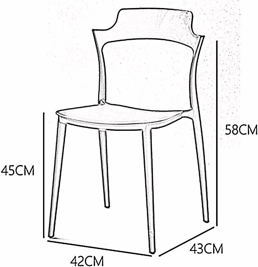 LJFYXZ Chaises Salle Manger Conception du dossier Siège en plastique Pour le salon de bureau chaise longue 42x43x58cm (Color : Red) Black