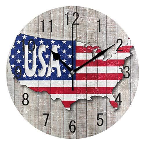 Use7 Home Decor Wanduhr, Motiv amerikanische Landkarte USA Flagge, gestreift, rund, Acryl, nicht tickend, geräuschlose Uhr, Kunst für Wohnzimmer, Küche, Schlafzimmer