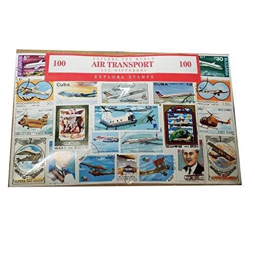 Explora - Francobolli, motivo: trasporto aereo, aviazione, aeroplani, veicoli aerei, elicotteri (Confezione da 100) Souvenir. Storia dei viaggi aerei, 100 francobolli diversi. Francobollo.