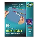 Avery 12452 Index Maker Translucent Dividers, 5-Tabs/Color, Letter, 5 Sets/PK
