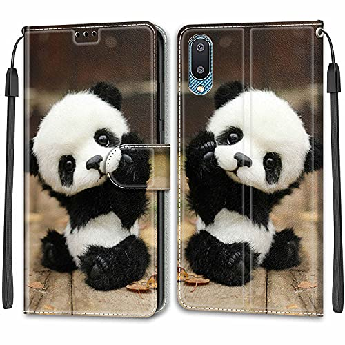 Telefono Custodia per Samsung Galaxy A02,Galaxy M02,Magnetica Custodia Shock-Absorption Protettiva Portafoglio Cover PU Pelle Case per Samsung Galaxy A02,Galaxy M02 Baby Panda