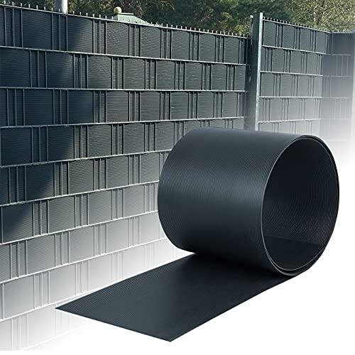 HENGMEI 20 Stück Sichtschutzstreifen Hart PVC 19cm x 2.5m Sichtschutz Zaunfolie Blickdicht für Gartenzaun, Balkon, Anthrazit
