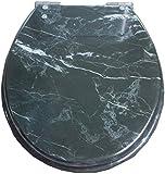 Toilet Lid Marbling Tapa del Inodoro con Silent Lenta hacia Abajo de urea-formaldehído Resina Top Ultra Resistente Fija U/V/O Forma Compatible WC la Cubierta de Asiento, OneColor-40~48cm * 33~38cm
