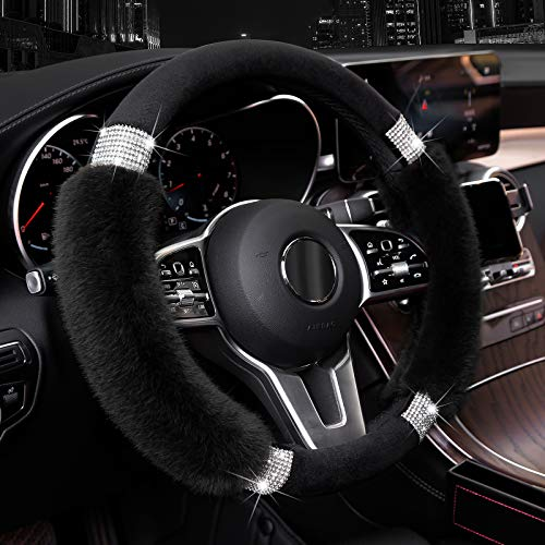Achiou Fluffy Steering Wheel Cover for Women, Universal Rhinestone Bling Comfortable Non-Slip Luxurious Faux Wool & Glam Vehicle for Ladies, Girls, 15 Inch