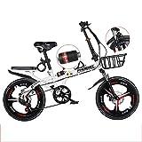 ZYD Bicicleta Plegable, Bicicletas portátiles de 20 Pulgadas y 6 velocidades, Freno de Disco Doble Bicicleta de montaña para viajeros urbanos para Adolescentes Adultos, 3 Colores