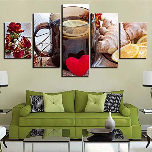 Cczxfcc Hd Prints Wooncultuur gember 5 stuks muurkunst citroen thee modulaire afbeeldingen bloemen canvas schilderij voor woonkamer kunstwerk poster 20 x 35/45/55 cm - een lijst met