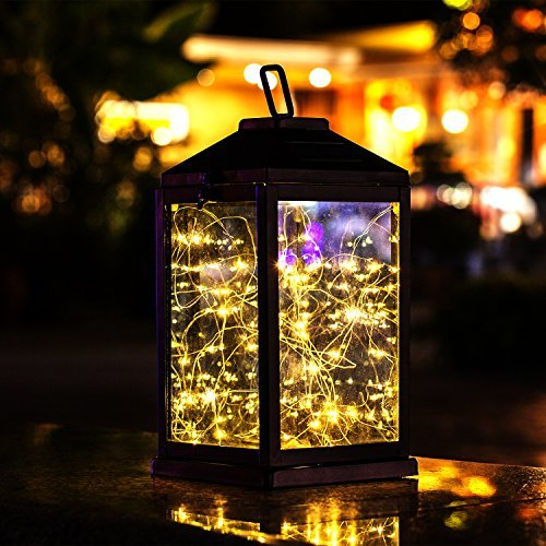 Solar Lantern Lights Metal Sunwind with 30 Warm White LEDs Fairy String Lights...