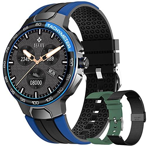 Smartwatch Relojes Inteligentes Hombre, Reloj Inteligente con Pulsómetro, Cronómetros, Calorías, Monitor de Sueño,...