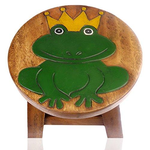ART-CRAFT KH021 Kinderhocker Holz Schemel mit Tiermotiv Froschkönig bemalt und beschnitzt Höhe 27 cm