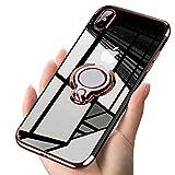 Alsoar Transparent Coque Compatible avec iPhone 7 Plus/iPhone 8 Plus,Silicone Gel Anti-Choc Mince Placage Bumper Housse Lustre Métal 360° Bague Support Téléphone Voiture Magnétique Etui Case(Or Rose)