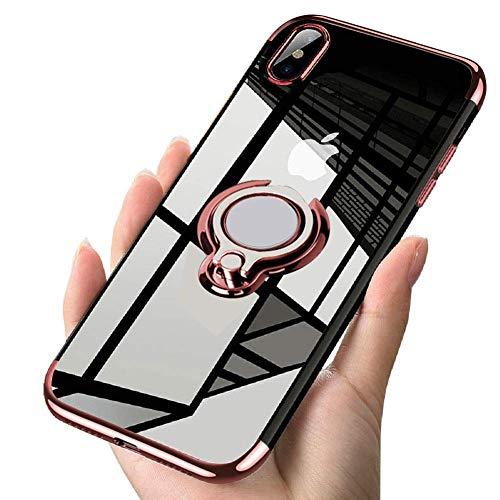Alsoar Transparent Coque Compatible avec Huawei P30 Lite/Nova 4E,Silicone Gel Anti-Choc Mince Placage Bumper Housse Lustre Métal 360° Bague Support Voiture Magnétique Etui Case(Or Rose)