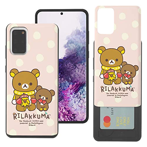 Galaxy S20 Case Rilakkuma Slim Slider Cover : Card Slot Dual Layer Holder Bumper for [ Galaxy S20 (6.2inch) ] Case - Chairoikoguma Sit