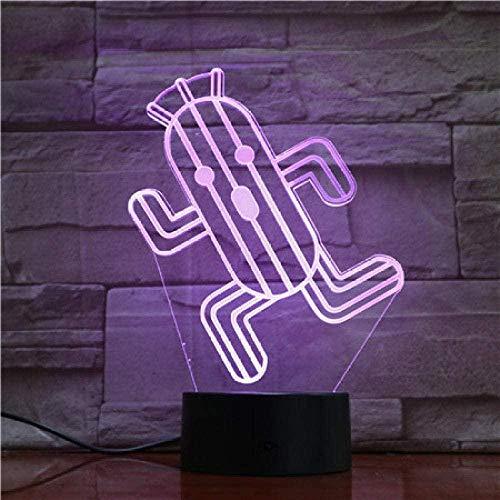 Tatapai 3D ilusión lámpara LED noche luz de dibujos animados Cactuar final fantasía 7 colores para guardería decorativo joven mejor regalo cactus reloj lámpara de mesa
