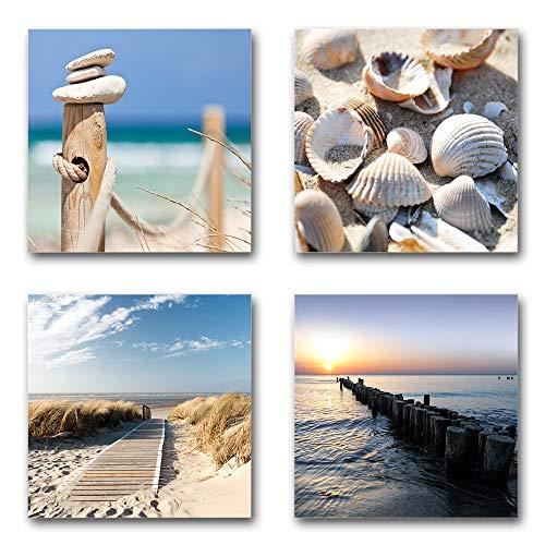 Ostsee - Nordsee Bilder Set, 4-teiliges Bilder-Set, je Teil 29x29cm, Moderne seidenmatte Optik auf Forex, frei positionierbar, UV-stabil, wasserfest, Kunstdruck für Büro, Wohnzimmer, Deko