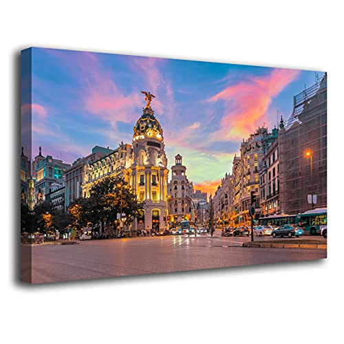 Desconocido Cuadro Lienzo Canvas Gran Via de Madrid Luces Atardecer – Varias Medidas - Lienzo de Tela Bastidor Madera de 3 cm - Impresion Alta resolucion (80, 47)
