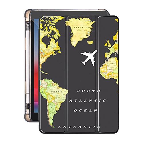YYLKKB para 10.2 8º 2020 iPad Air 4 Funda con Soporte de lápiz 7.9 Pro 11 2018 Mini 5 10.5 Pro Air 2 3 Funda de Tableta de Viaje de Silicona World Travel-110363s_10.2 Pulgadas 7mo 8
