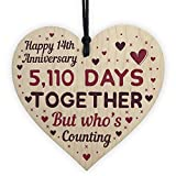 RED OCEAN Handmade Wooden Heart Plaque Gift To Celebrate 14th Wedding Anniversary Husband Wife (14 Years)