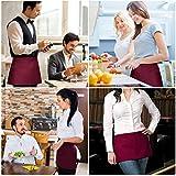 Viedouce Vorbinder Taillen Schürze, Kellnerschürze Kochschürze Backschürze mit 3 Taschen für Frauen Männer Restaurant Server Chef Kellnerin Kellner Barista, Rot (3 Pack) - 2