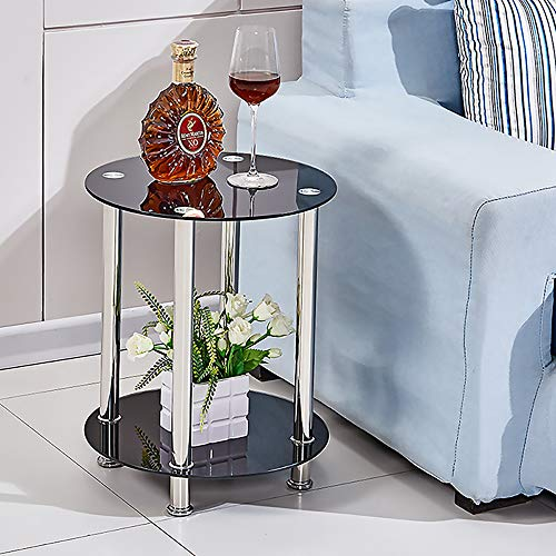 BELIFEGLORY Modern Design End Table, 2 Tier Tempered Glass Coffee Table with Polished Stainless Steel Legs, Small Round Sofa Side Corner Lamp Table for Living Room (Black)
