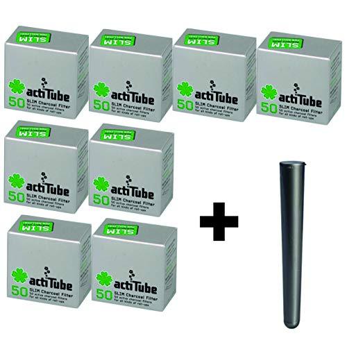actiTube Kogu Set Slim Aktivkohlefilter, 7,1 mm, 400 Stück, 8 Packungen mit je 50 Filtertips - inkl. J-Hülle