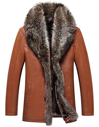 moxishop Herren Winter Warm Leder Mäntel Schaffell Jacke Luxus Fur Jacken Pelzmantel Parka Waschbär Pelz Kragen Innenfutter (A01- Gelb,M)