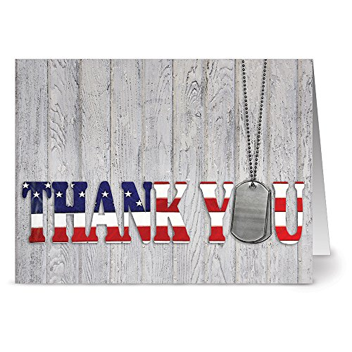 Note Card Cafe Patriotic Greeting Cards Set with Gray Envelopes | 36 Pack | Blank Inside, Glossy Cover | Thank You For Your Service | For July Fourth, Christmas, Holidays, Birthdays, Ceremonies