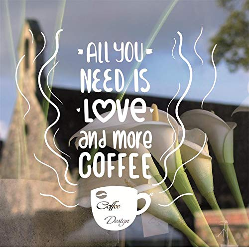 Koffiekopje vensterglas logo sticker theetijd winkel muursticker coffeeshop logo venster 42X42CM