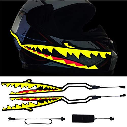 SAFT Motorradhelm-LED EL Kaltes Licht-Streifen-Aufkleber für Motorradhelm, Fahrradhelm,Nachtfahrten Sicherheits-Signal blinkende Streifen Dekoration Zubehör-Kit (Color : Yellow)