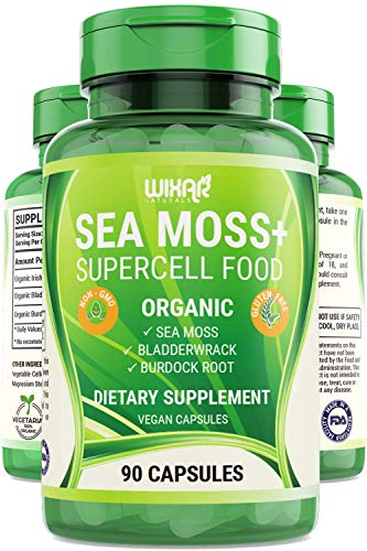 Wixar Organic Sea Moss Plus - Natural Irish Sea Moss and Bladderwrack with Burdock Pills - 90 Capsules - Vegan Non-GMO - Thyroid, Healthy Skin, Keto Detox, Gut, Joint Support Alkaline Supplements