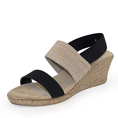 Cooper Sling-Back Espadrille Wedge Sandal - Black and Linen - Size 6 - by Charleston Shoe Co