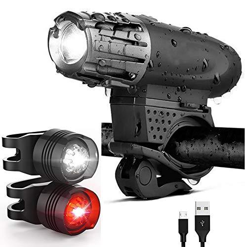 Luce Bici, Luci LED per Bicicletta Ricaricabili USB Impermeabile, Super Luminoso Luce Bici Anteriore e Posteriore per Bici Strada e Montagna