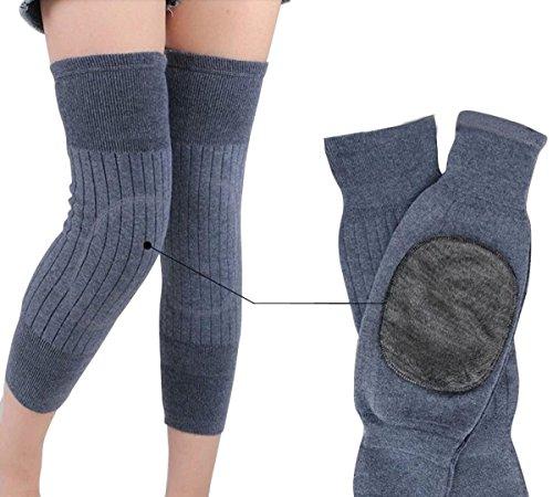 Unisexe épaissir élastique en laine cachemire genou Collants Jambières genou protection Soutien de genoux manches Genouillères pour femme homme garder au chaud par temps froid, gris clair