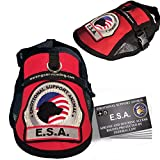 Premium Small Dog Emotional Support Dog ESA Mesh Vest (11' - 14' Girth, Red) - Includes 5 Federal Law ESA Handout Cards