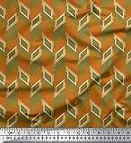 Soimoi Orange Poly Georgette Stoff Fischgräte geometrisch