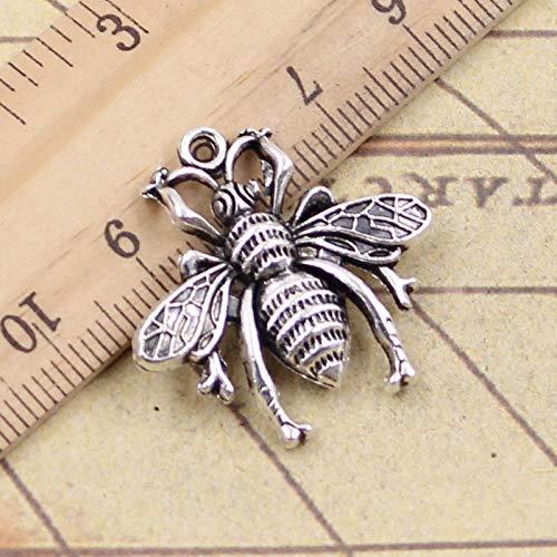 WANM 12Pcs Charms Bee Hornet 26X25Mm Antique Silver Color Pendants Making Diy Handmade Tibetan Finding Jewelry