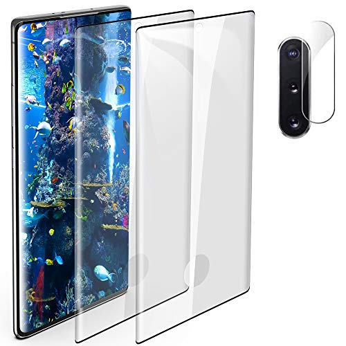 [2+1] Galaxy Note 10 Plus Tempered Glass Screen Protector Include Camera Lens Protector [Fingerprint Support][Case Friendly] [Anti-scratch] [Bubble Free] HD Clear Film for Samsung Galaxy Note 10 Plus