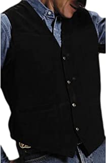 Roper Men's Suede Vest with Buckle Back