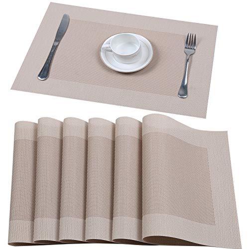 Pauwer Set 6er Platzset Beige Tisch Platzdeckchen Abwaschbar Abgrifffeste Hitzebeständig Tischset for Küche, Zuhause, Restaurant, Speisetisch