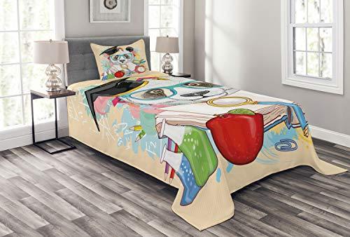 ABAKUHAUS Tier Tagesdecke Set, Hipster Panda in der Schule, Set mit Kissenbezügen Waschbar, für Einselbetten 170 x 220 cm, Beige Rot