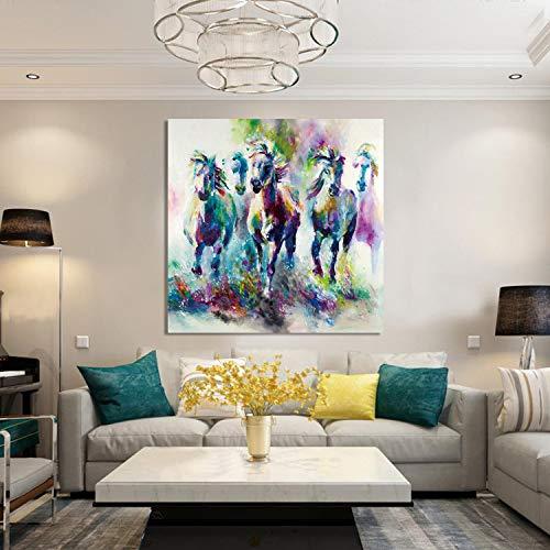 baodanla Frameless HD inkjet bijsluiter decoratieve schilderij anti-realistische handgeschilderde olie schilderij dier galopperende olie schilderij